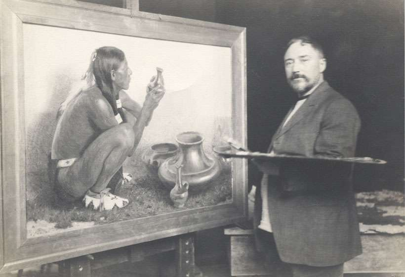 "Couse in his Taos studio at work on ""San Juan Pottery,"" 1911."