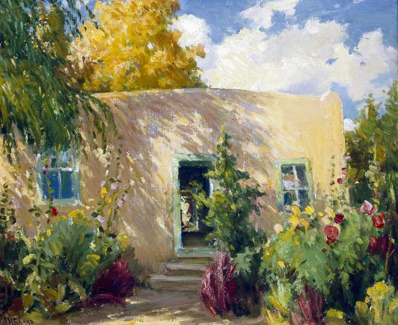 "J.H. Sharp ""Taos Backyard, New Mexico"", oil on canvas, 14 1/8 x 17 1/8 inches, collection of Betty Soltesz"
