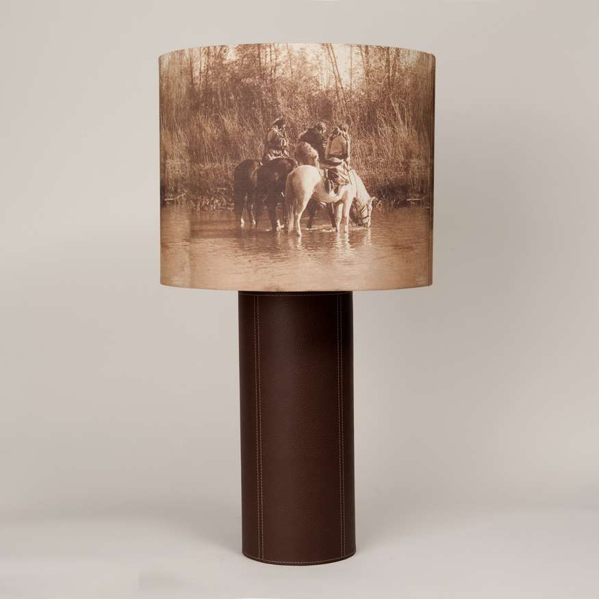 "WesternWare Goods | Handmade Lamp | $350 | 28.75"" x 16"" x 16""; Base of Italian leather -  shade image from historic photograph (sample only final shade image may differ)  