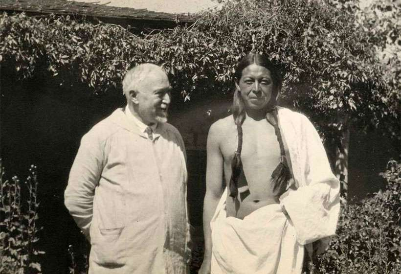 Couse with his favorite model, Ben Lujan, circa 1928.