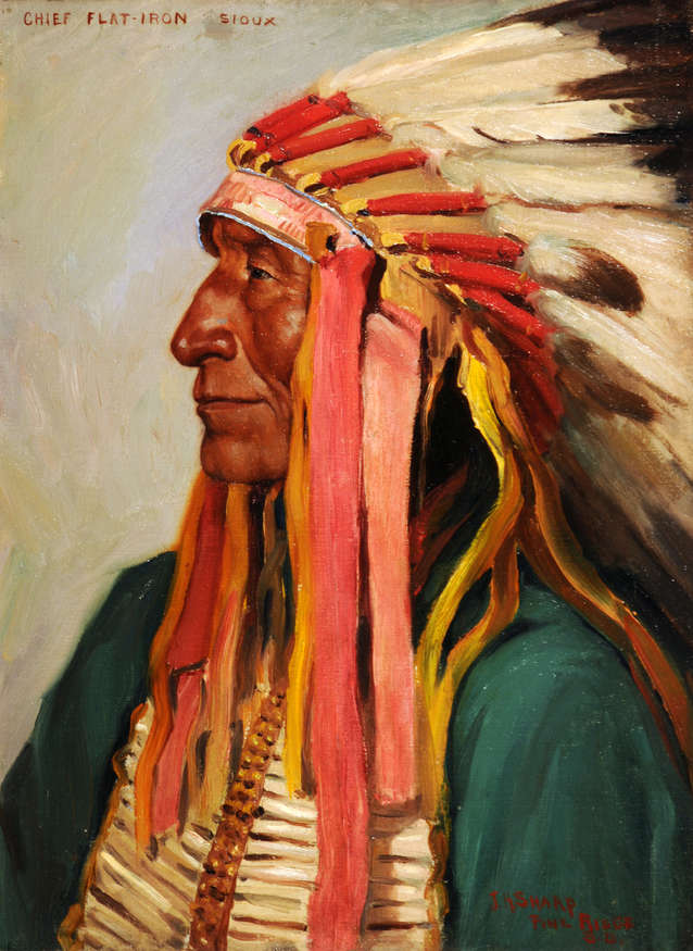 Chief Flat Iron–Sioux, circa 1900 Oil on canvas, 16 x 12 in. Panhandle-Plains Historical Museum, Canyon, Texas, Johnie Griffin Collection  1501/2