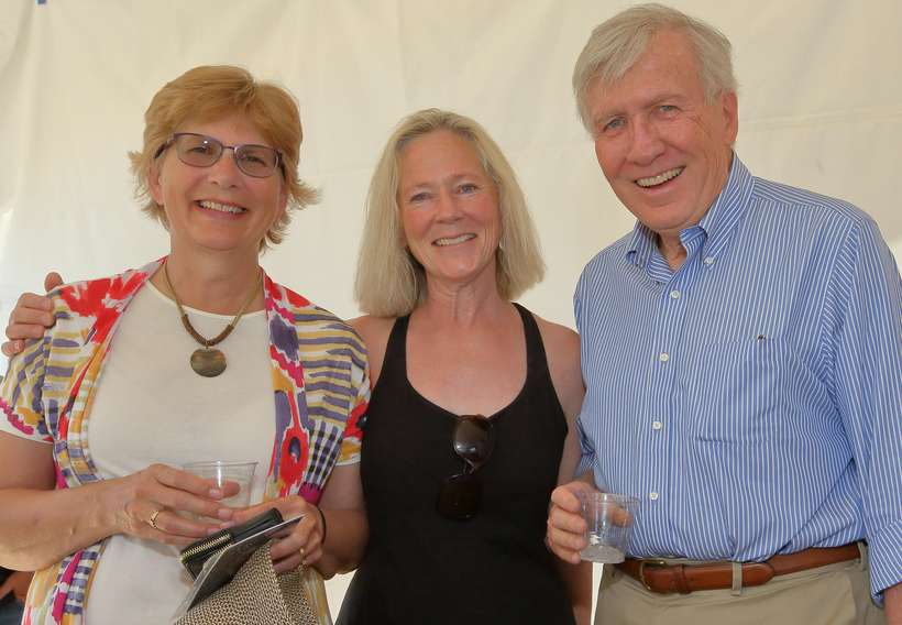Diana Brady, left, Lainey Reynolds, and John Cullinan at the grand opening reception. Brady and Reynolds, descendants of close friends of J.H. Sharp, traveled from Montana for the gala weekend.