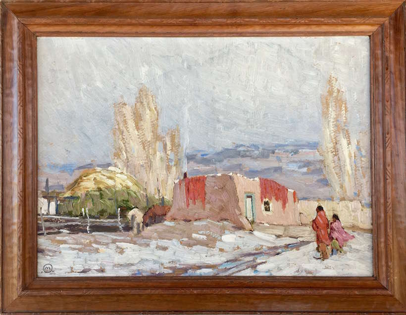 "Ralph Meyers (1885-1948) | ""Pueblo Home with Chili Ristras"" 
