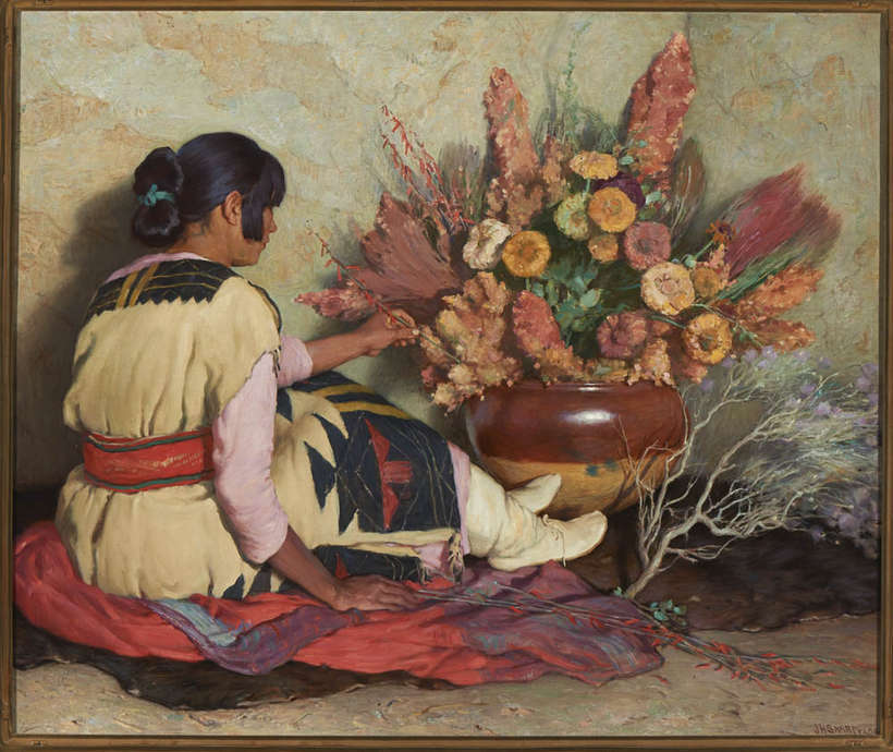 """Crucita - Taos Indian Girl in Old Hopi Wedding Dress and Dry Flowers (Winter Bouquet)"", from the collection of Gilcrease Museum, Tulsa, Oklahoma, 1037.2194."