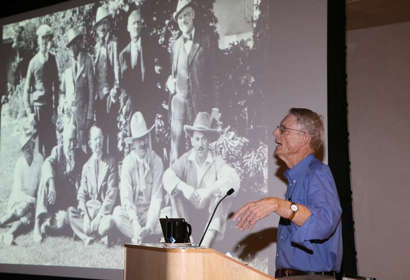 Dr. Dean Porter presenting his lecture at the Harwood Museum of Art before the 2015 Gala.