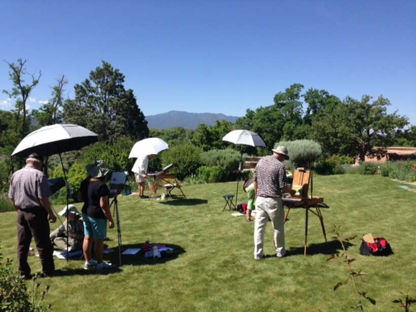 Plein air painting group in the Couse gardens.