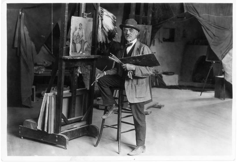 Sharp in his studio, Buffalo Bill Center of the West, Cody, Wyoming, Joseph Henry Sharp Collection, Gift of Mr. and Mrs. Forrest Fenn, P.22.90.