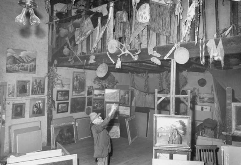 J.H. Sharp in his studio, 1946. Sharp was the first to come to Taos, in 1893, and eventually built this studio.