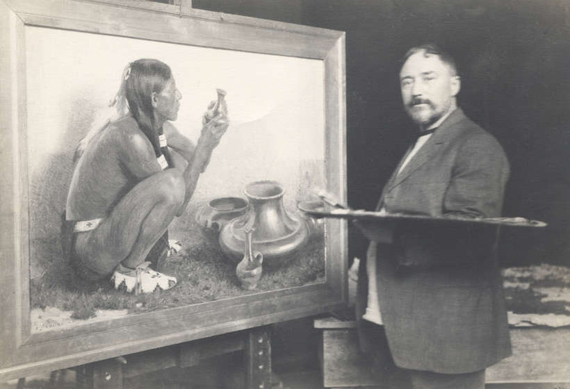 E.I. Couse in his studio at work on San Juan Pottery, 1911. Couse first came to Taos in 1902, at the suggestion of Ernest Blumenschein.